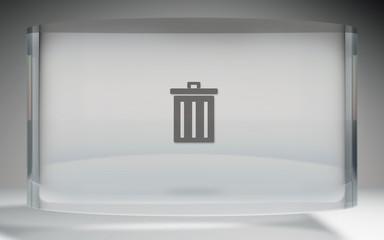 futuristic crystal display trash delete on top