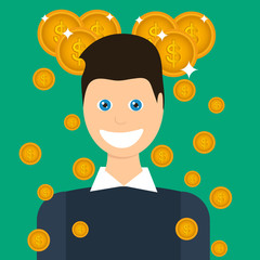 Money Rain Illustration in flat design