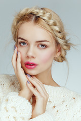 Beautiful attractive charming blonde caucasian model girl portrait closeup with daily nude natural makeup.