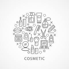 Cosmetics illustration with icons and signs