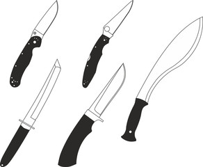 Set of icons for combat and hunting knives.