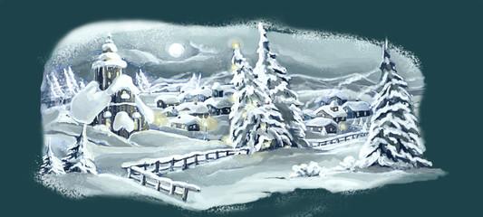 Christmas winter happy scene - illustration for the children