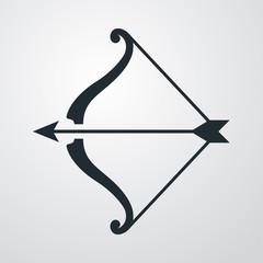 Icono plano arco y flecha sobre fondo degradado