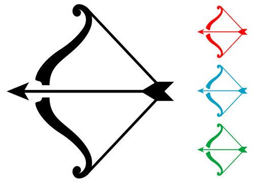 Pictograma arco y flecha varios colores