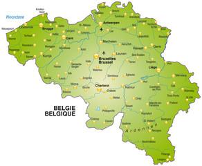 Foto Auf Aludibond Karte Von Belgien Nikkel Art De