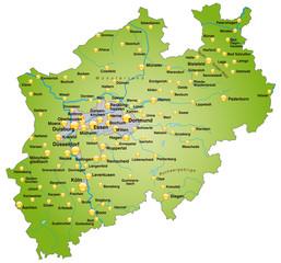 Karte von Nordrhein-Westfalen