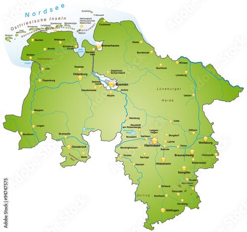 Karte Nordseeküste Niedersachsen.Karte Von Niedersachsen Stockfotos Und Lizenzfreie Vektoren Auf