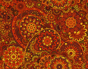 Vector flower paisley seamless pattern element. Elegant texture for backgrounds