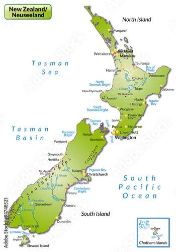 """""""Karte von Neuseeland"""" Stockfotos und lizenzfreie Vektoren ..."""
