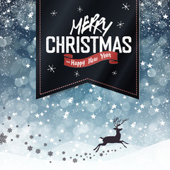 Merry Christmas Vintage Background. Falling Snow and Black Badge