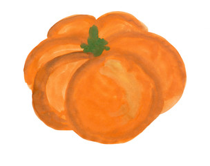 Pumpkin painted with gouache