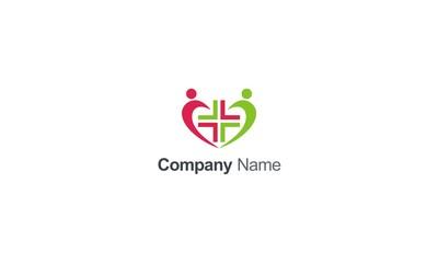 love people hospital cross sign logo