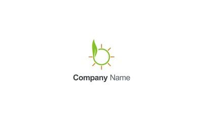 green leaf sun shine organic logo