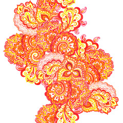Seamless indian pattern with scrolls and paisleys