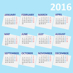vector illustration of 2016 year simply calendar