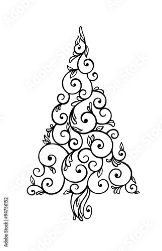 Abstract Christmas Tree Illustration Hand Drawn Swirls And Curls