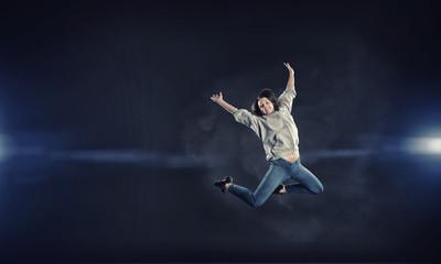 Dancer girl in jump
