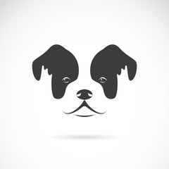 Vector image of an dog face (bulldog) on white background