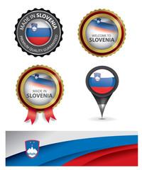 Made in Slovenia Seal, Slovenian Flag (Vector Art)