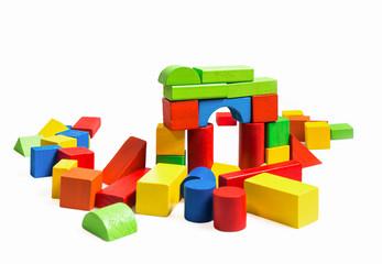 Toys blocks multicolor wooden bricks