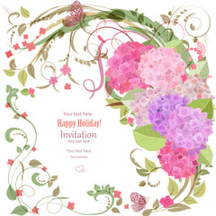 elegant invitation card with beautiful flowers for your design