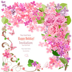 lovely invitation card with flowers and butterfly for your desig