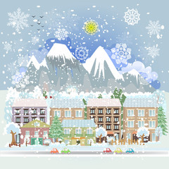winter city scenery