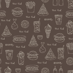 Pattern on the theme of fast food on brown color