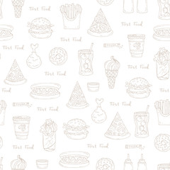 Pattern on the theme of fast food on white color