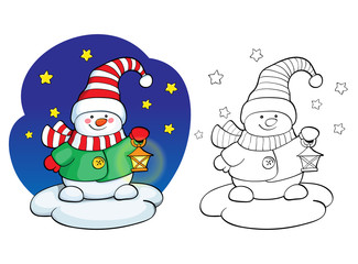 Coloring book. Vector card concept - Cute snowman.