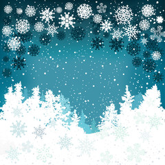 Winter background with snowflakes and Christmas trees