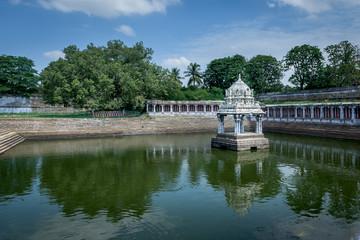 Water tank in Hindu temple Kanchipuram India
