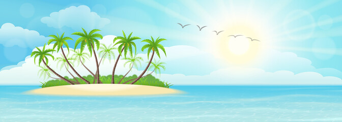 Wall Mural - Summer tropical island with palms, sand, sky and sun