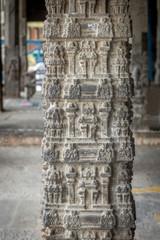 Hindu temple pillar, Kanchipuram, India