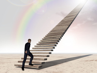 Conceptual 3D business man walking or climbing stair over rainbow sky