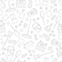 Pattern on the theme of cleaning services company on white color