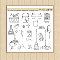 Set with doodles on the theme of cleaning service