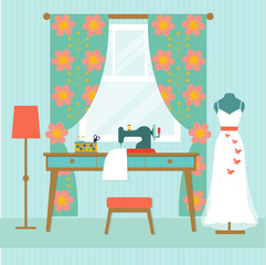 retro workplace seamstress with window and wedding dress. Table and sewing machine. flat vector illustration