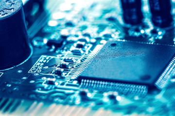selective focus of close up computer electronic circuit board, e