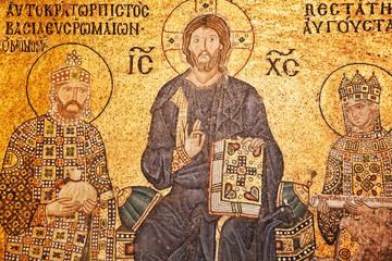 Jesus Christ mosaic at Hagia Sophia church, Istanbul, Turkey