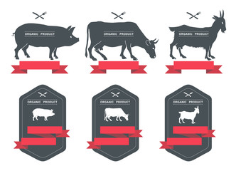 Set of labels, badges and design elements/ pork, beef, milk