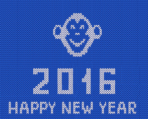 Scandinavian style new year blue greeting  knitted pattern with monkey