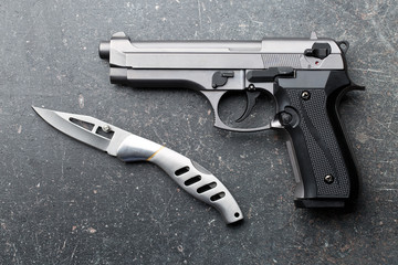handgun and knife