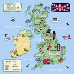 United kingdom cartoon map