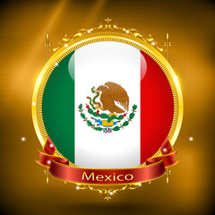 Flag of Mexico in GOLD