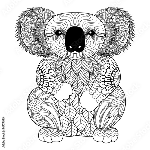Drawing Zentangle Koala For Coloring Page Shirt Design Effect Logo Tattoo And Decoration