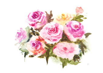 Roses , watercolor painting