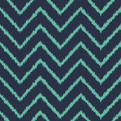 Seamless neon blue zigzag ikat pattern vector