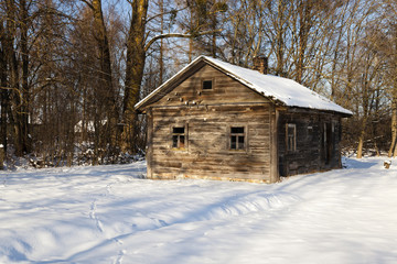 wooden house . winter