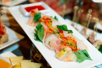 Spring rolls on plate
